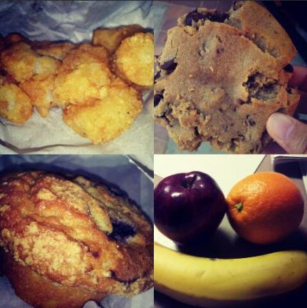 Breakfast & Pastries! Tater Tots, Chocolate Chip Cookie, Fruit, Blueberry Muffin